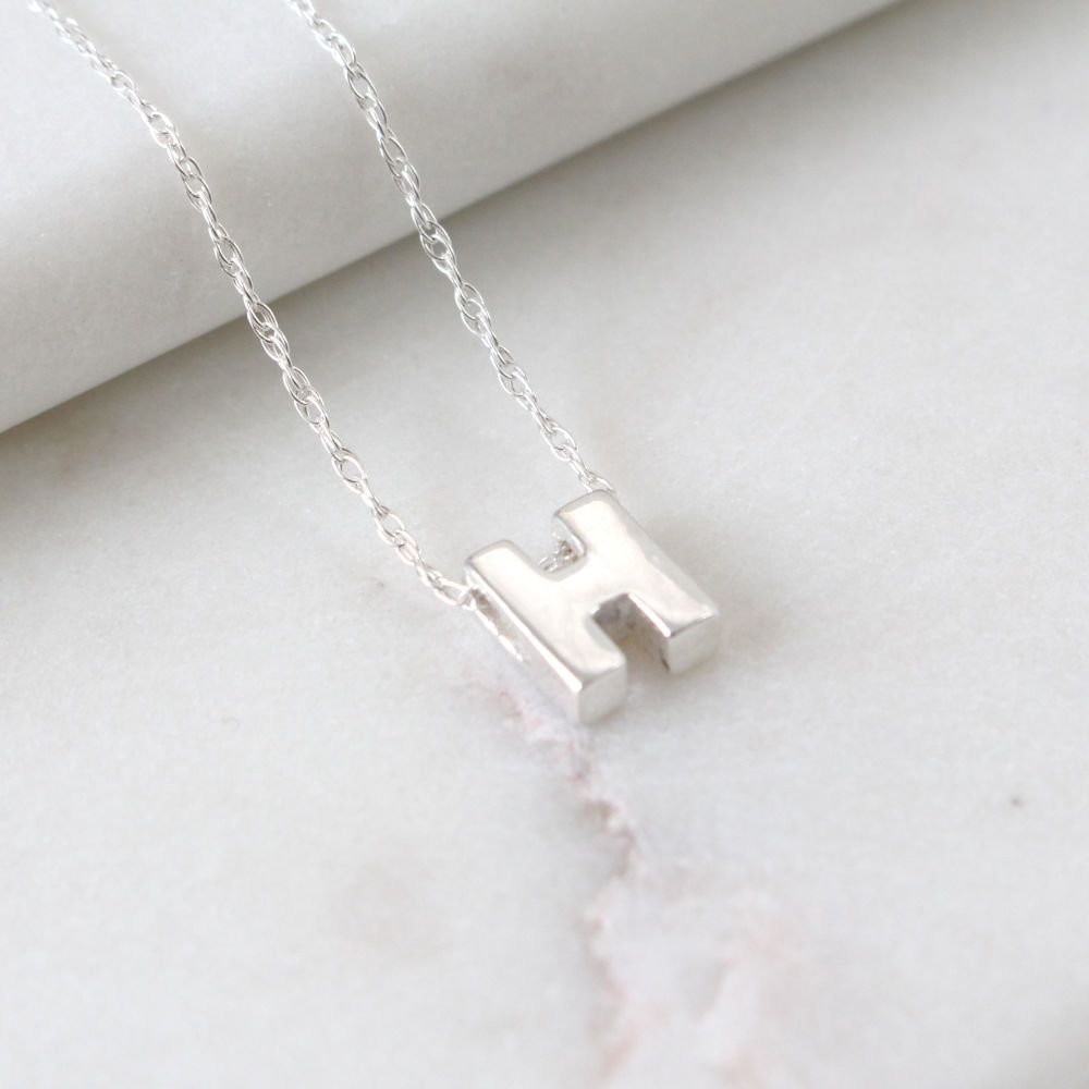 Sterling Silver Initial H Pendant Necklace • Letter H Necklace