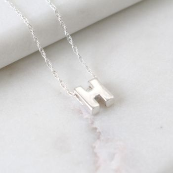Sterling Silver Initial H Pendant Necklace | Letter H Necklace