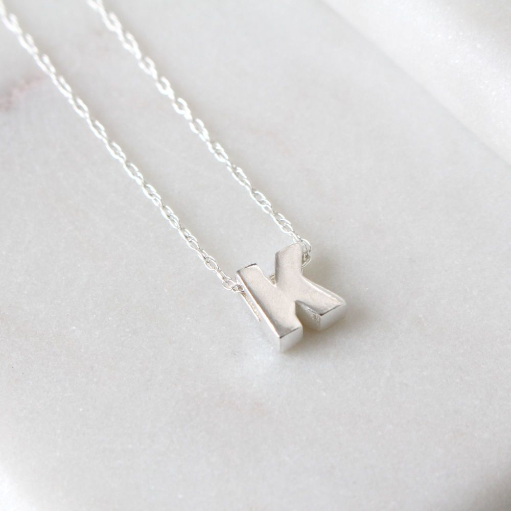 Sterling Silver Initial K Pendant Necklace • Letter K Necklace