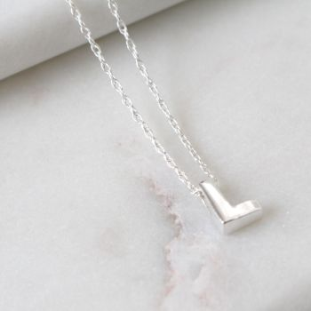 Sterling Silver Initial L Pendant Necklace • Letter L Necklace