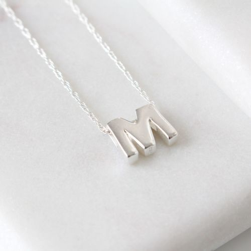 Sterling Silver Initial M Pendant Necklace • Letter M Necklace