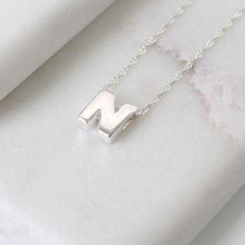 Sterling Silver Initial N Pendant Necklace • Letter N Necklace