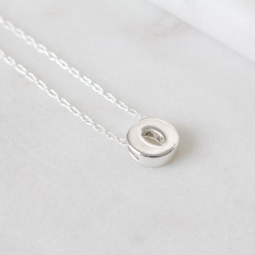 Sterling Silver Initial O Pendant Necklace • Letter O Necklace