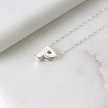 Sterling Silver Initial P Pendant Necklace | Letter P Necklace
