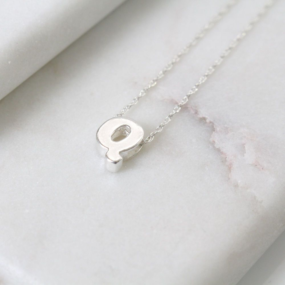 Sterling Silver Initial Q Pendant Necklace • Letter Q Necklace