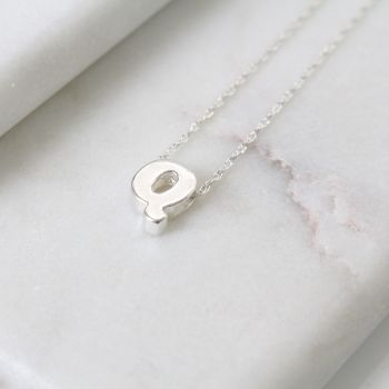 Sterling Silver Initial Q Pendant Necklace | Letter Q Necklace