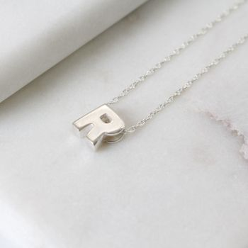 Sterling Silver Initial R Pendant Necklace • Letter R Necklace