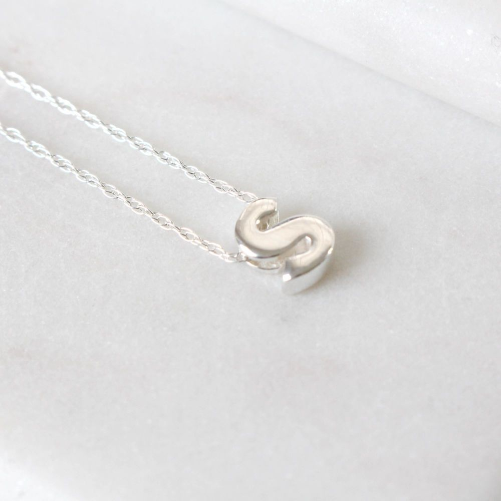 Sterling Silver Initial S Pendant Necklace • Letter S Necklace