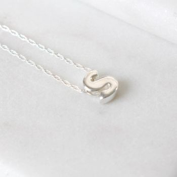 Sterling Silver Initial S Pendant Necklace | Letter S Necklace
