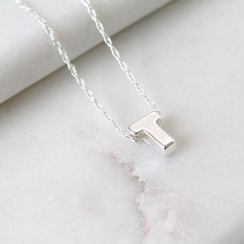 Sterling Silver Initial U Pendant Necklace • Letter T Necklace