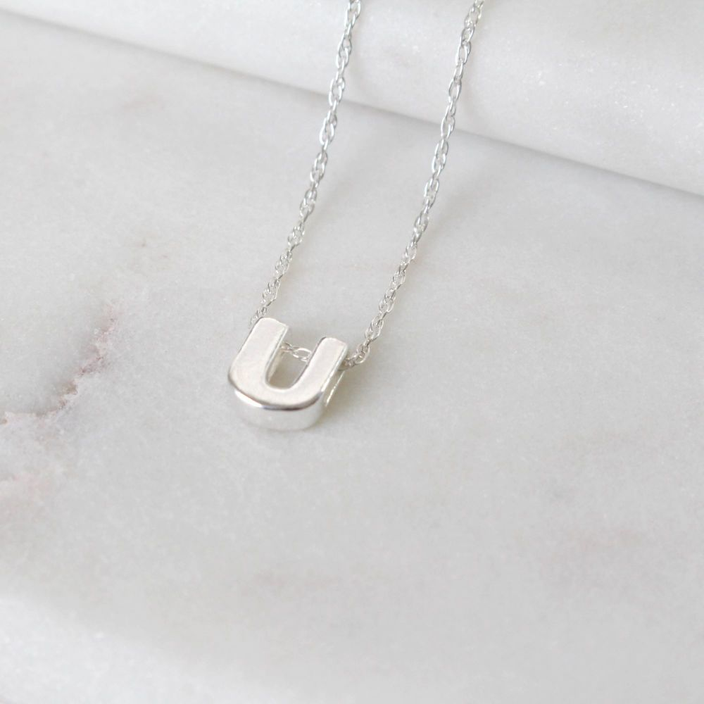 Sterling Silver Initial U Pendant Necklace • Letter U Necklace