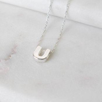 Sterling Silver Initial U Pendant Necklace | Letter U Necklace