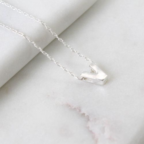 Sterling Silver V Initial Pendant Necklace • Letter V Necklace