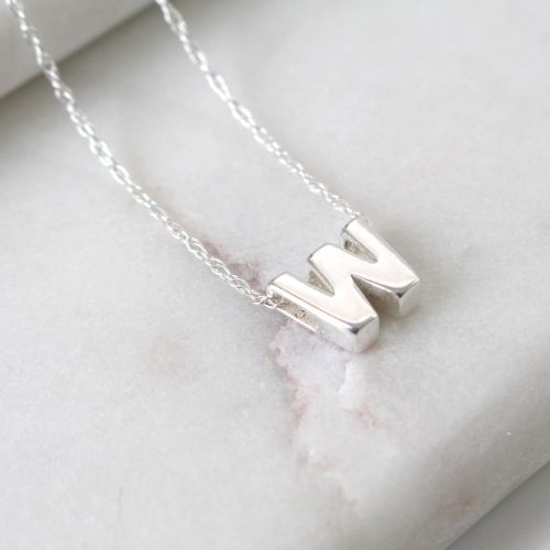 Sterling Silver Initial W Pendant Necklace • Letter W Necklace