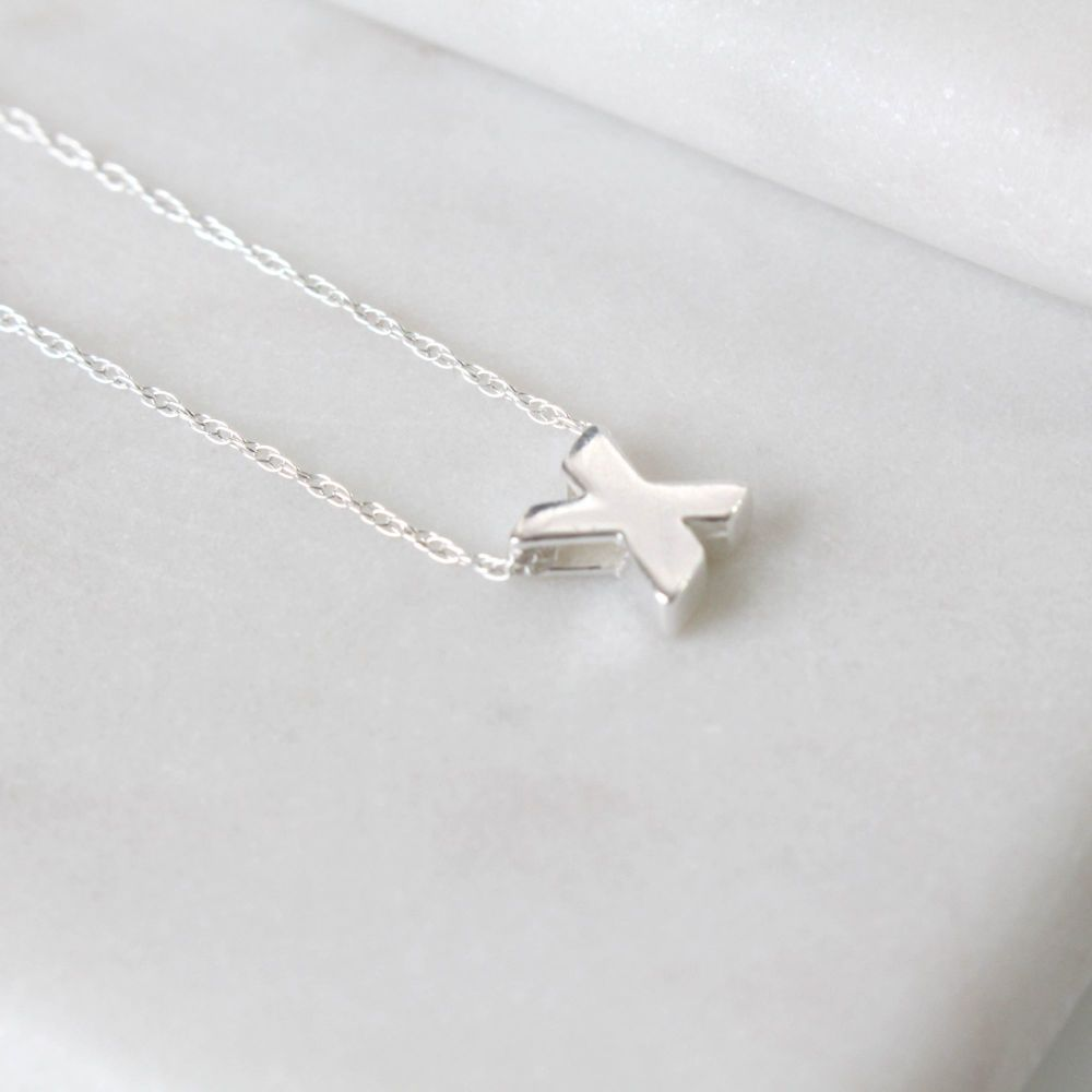 Sterling Silver Initial X Pendant Necklace • Letter X Necklace