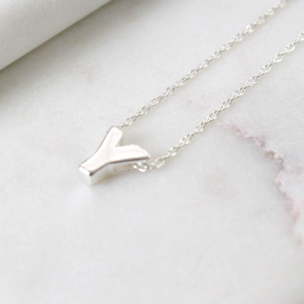 Sterling Silver Letter Y Initial Pendant Necklace | Jewellery | Polly Red