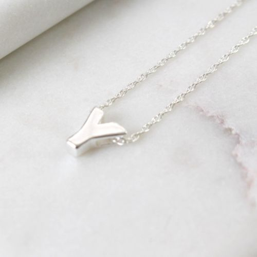 Sterling Silver Initial Y Pendant Necklace • Letter Y Necklace