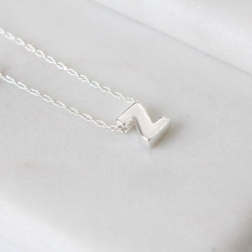 Sterling Silver Initial Z Pendant Necklace • Letter Z Necklace