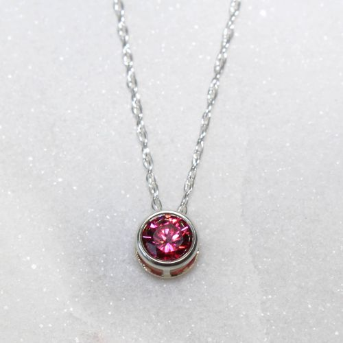 Swarovski Red Zirconia Sterling Silver Pendant Necklace