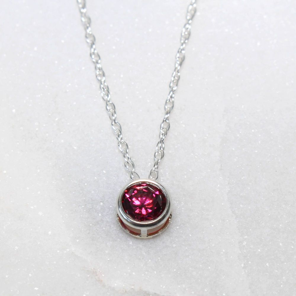 Swarovski Dark Red Zirconia Sterling Silver Pendant Necklace