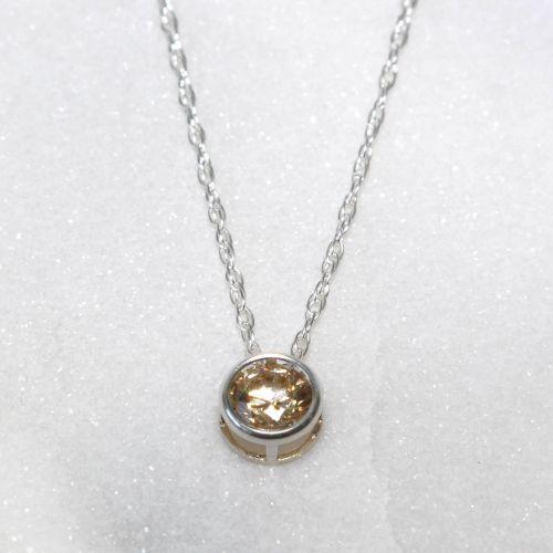 Swarovski Champagne Zirconia Sterling Silver Pendant Necklace