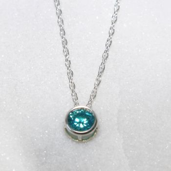 Swarovski Mint Green Zirconia Sterling Silver Pendant Necklace