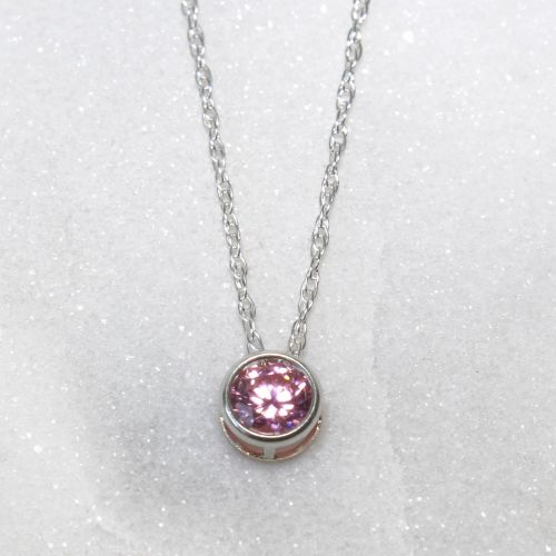 Swarovski Pink Zirconia Sterling Silver Pendant Necklace