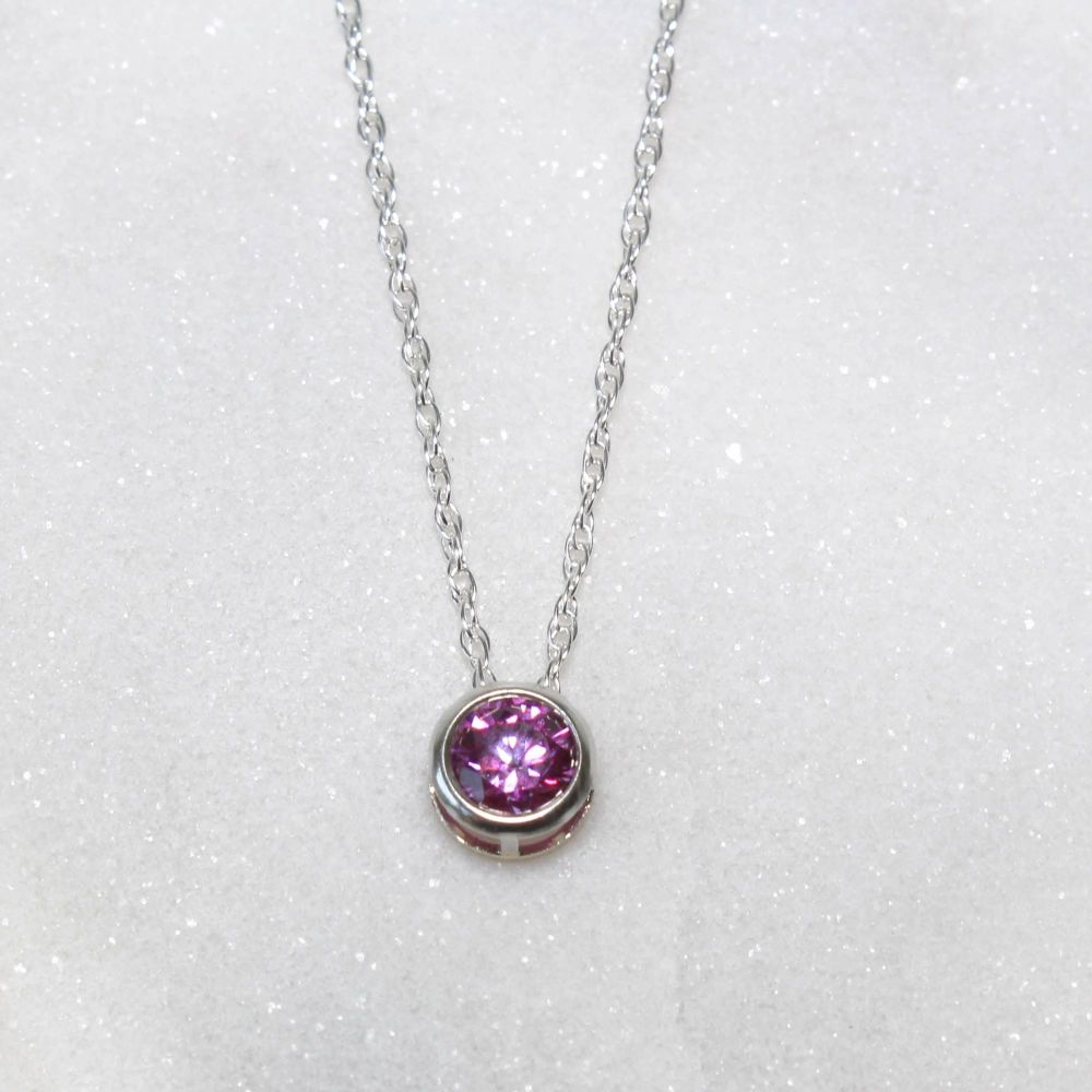 Swarovski Purple Zirconia Sterling Silver Pendant Necklace