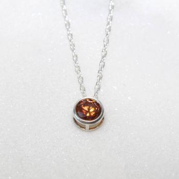 Swarovski Caramel Zirconia Sterling Silver Pendant Necklace