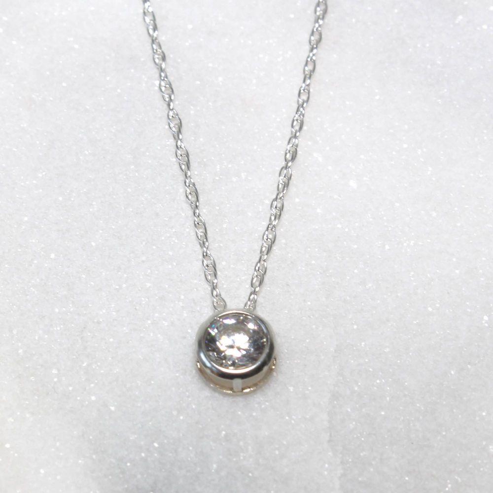 Swarovski White Zirconia Sterling Silver Pendant Necklace
