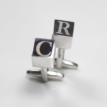 Silver Initial Cube Personalised Cuff Links