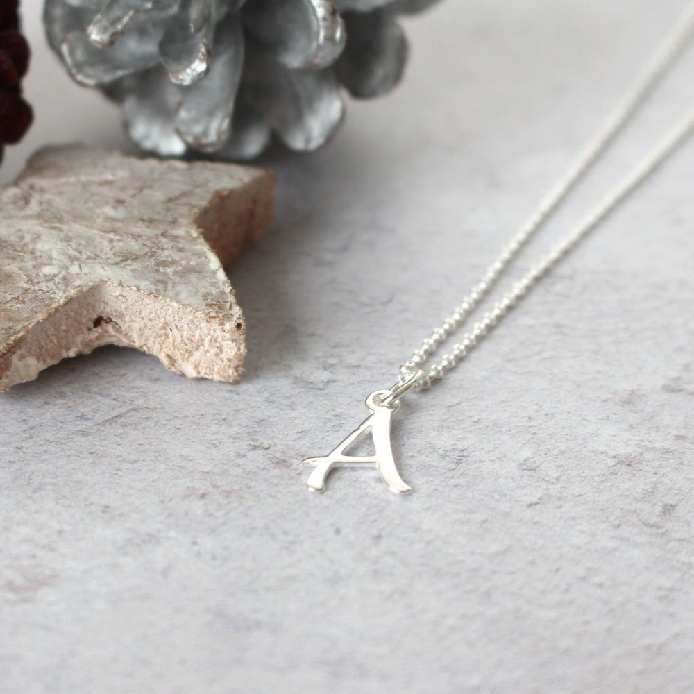Sterling Silver Script Initial A Pendant Necklace • Letter A Necklace •