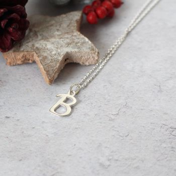 Sterling Silver Script Initial B Pendant Necklace | Letter B Necklace