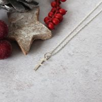 Sterling Silver Script Initial F Pendant Necklace • Letter F Necklace