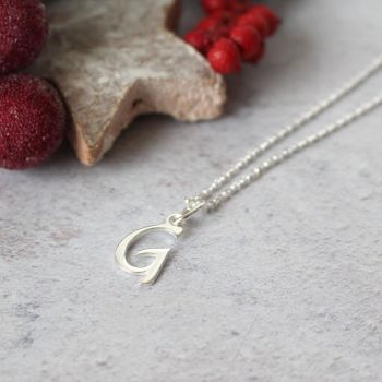 Sterling Silver Script Initial G Pendant Necklace • Letter G Necklace