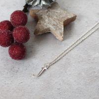 Sterling Silver Script Initial J Pendant Necklace • Letter J Necklace