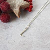 Sterling Silver Script Initial L Pendant Necklace • Letter L Necklace
