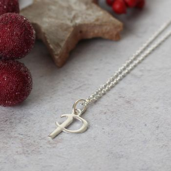 Sterling Silver Script Initial P Pendant Necklace • Letter P Necklace