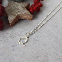 Sterling Silver Script Initial Q Pendant Necklace • Letter Q Necklace