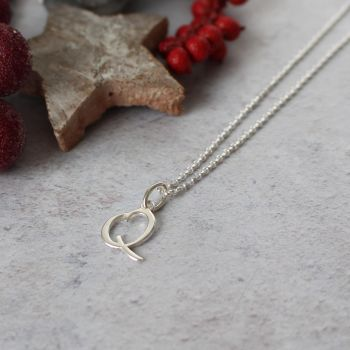 Sterling Silver Script Initial Q Pendant Necklace • Letter Q Necklace