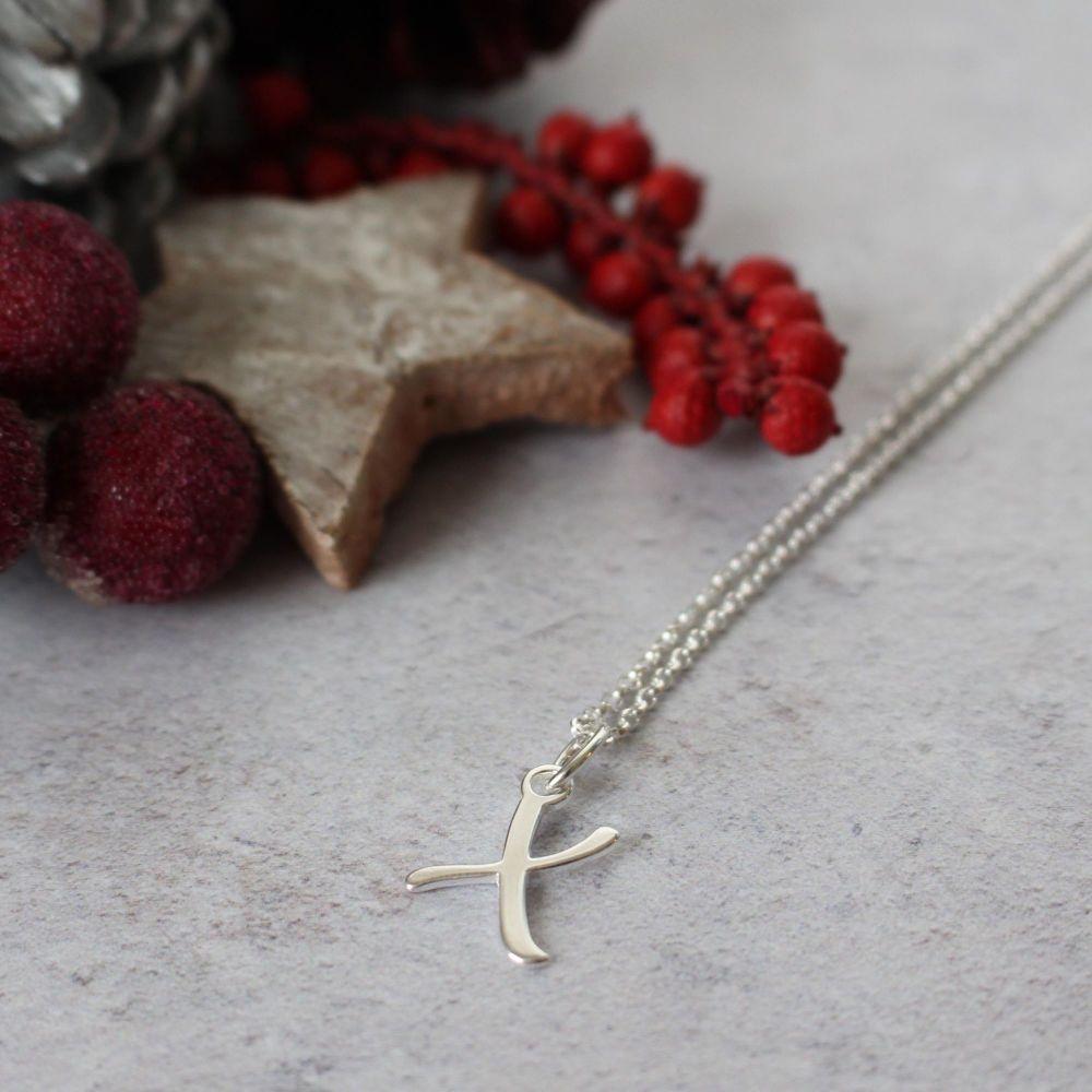 Sterling Silver Script Initial X Pendant Necklace • Letter X Necklace
