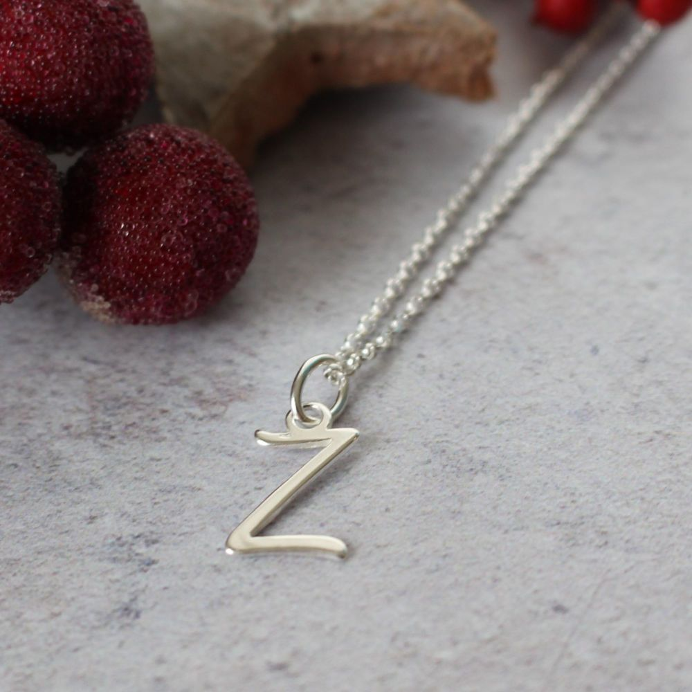 Sterling Silver Script Initial D Pendant Necklace • Letter D Necklace
