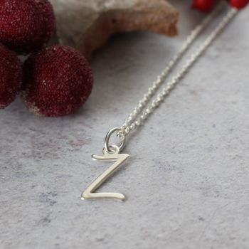 Sterling Silver Script Initial Z Pendant Necklace • Letter Z Necklace