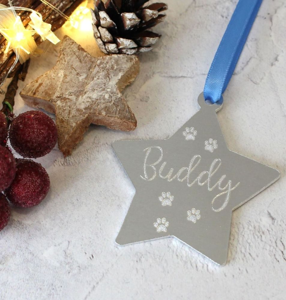 Pet Name Christmas Star Tree Decoration