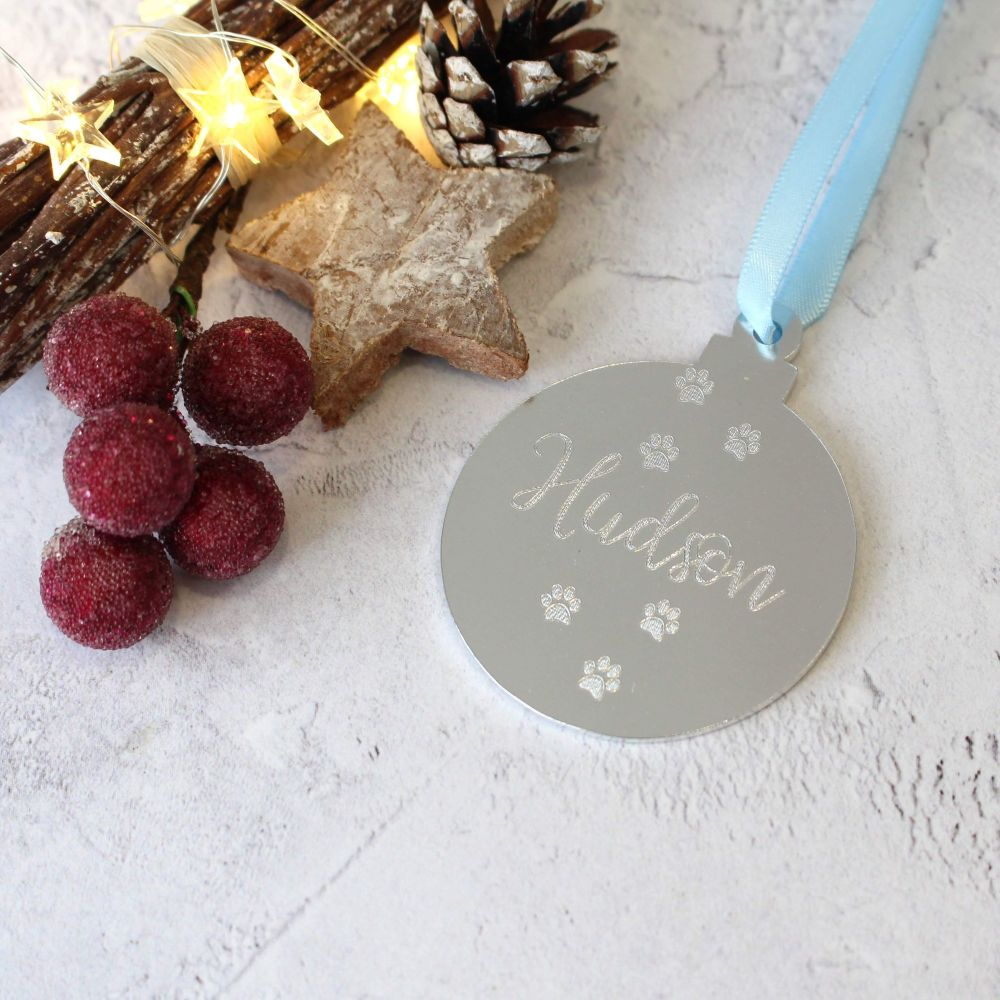 Pet Name Christmas Bauble Tree Decoration