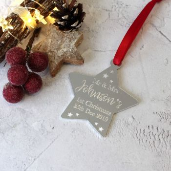 Mrs and Mrs 1st Year Married Christmas Star Tree Decoration