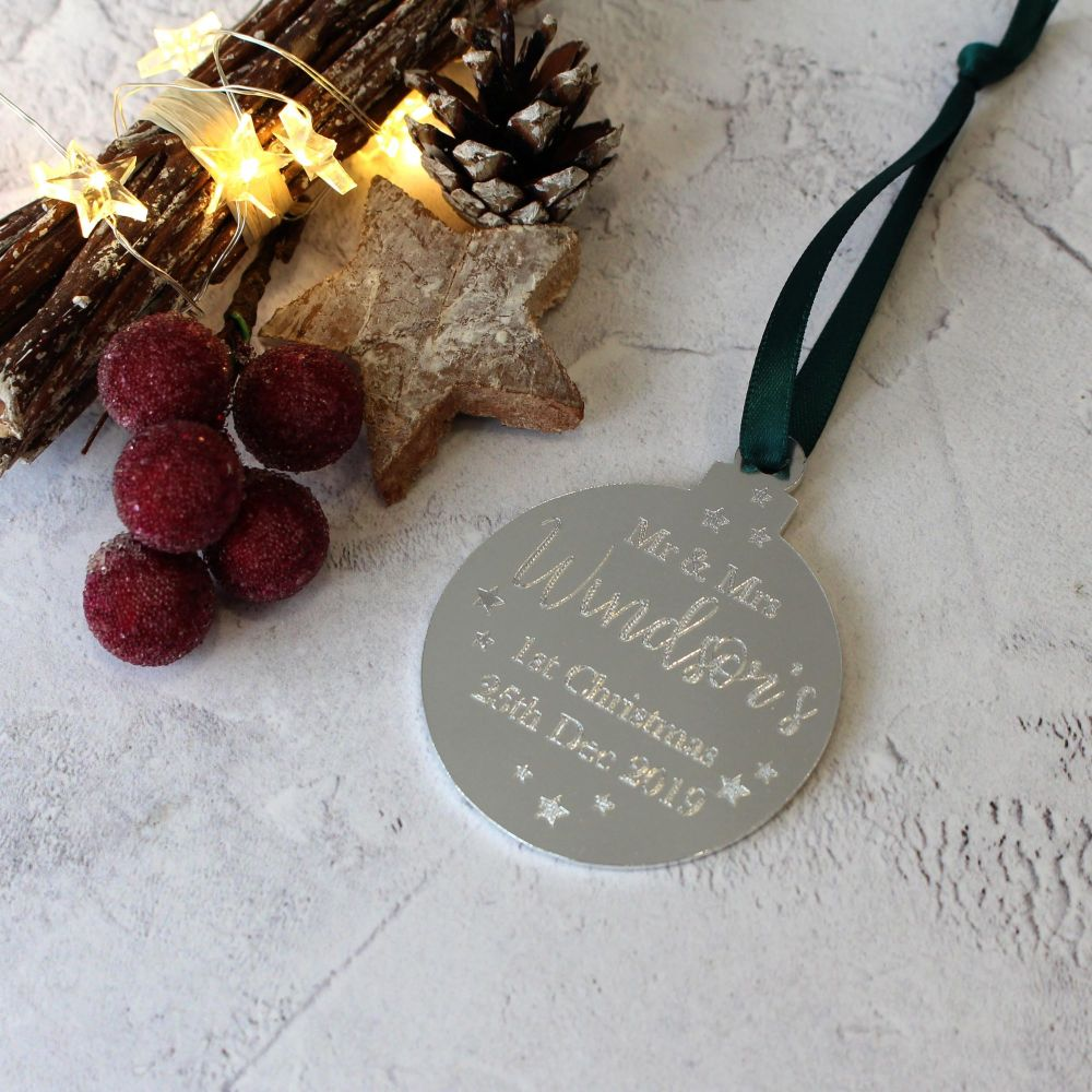 Mrs and Mrs 1st Year Married Christmas Bauble Tree Decoration