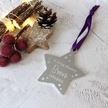 Memorial - In Loving Memory Christmas Star Tree Decoration