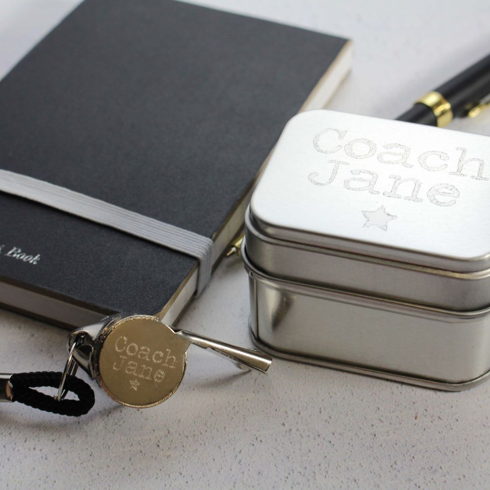 Personalised Engraved Whistle and Presentation Tin