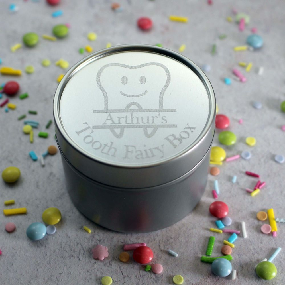 Silver Tooth Fairy Box with Tooth Design